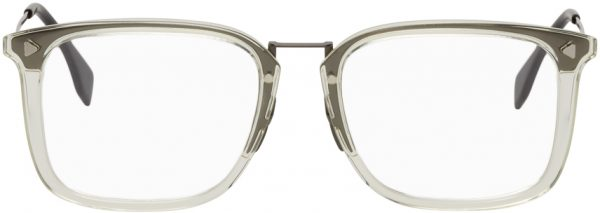 Fendi Transparent & Gunmetal Square Glasses