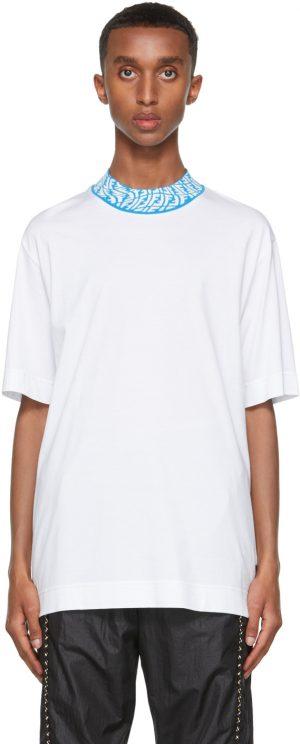 Fendi White FF Vertigo Collar T-Shirt