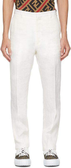 Fendi White Hemp Trousers