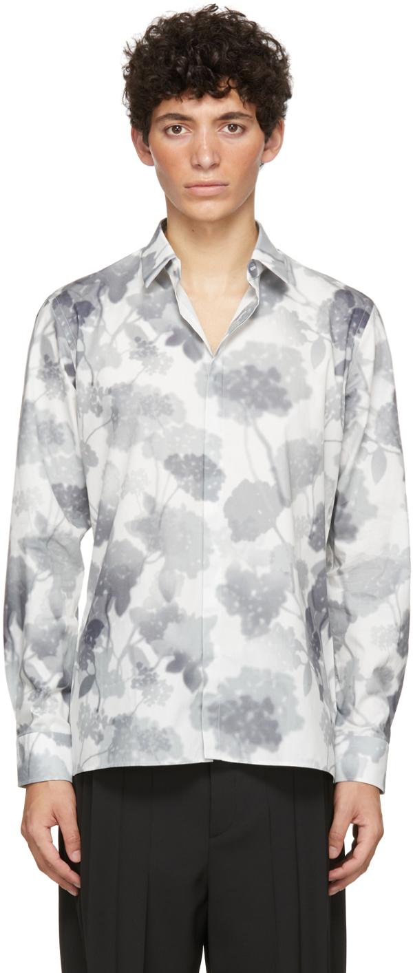 Fendi White Poplin Flower Gradient Shirt