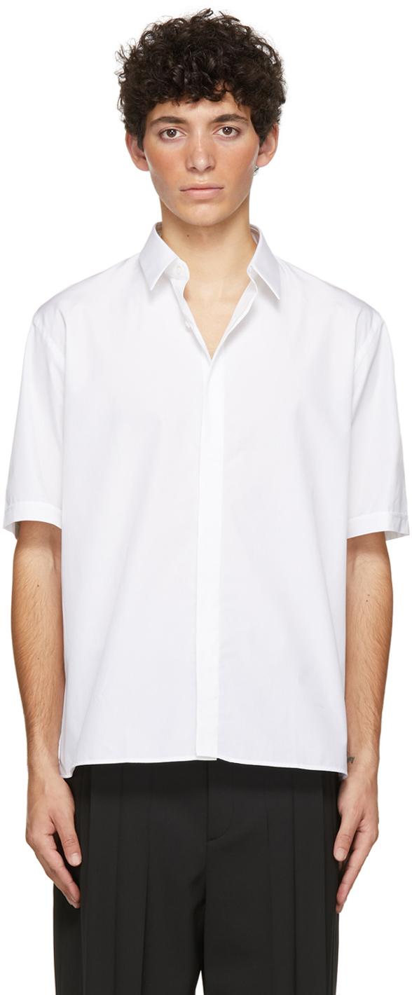 Fendi White Poplin Short Sleeve Shirt