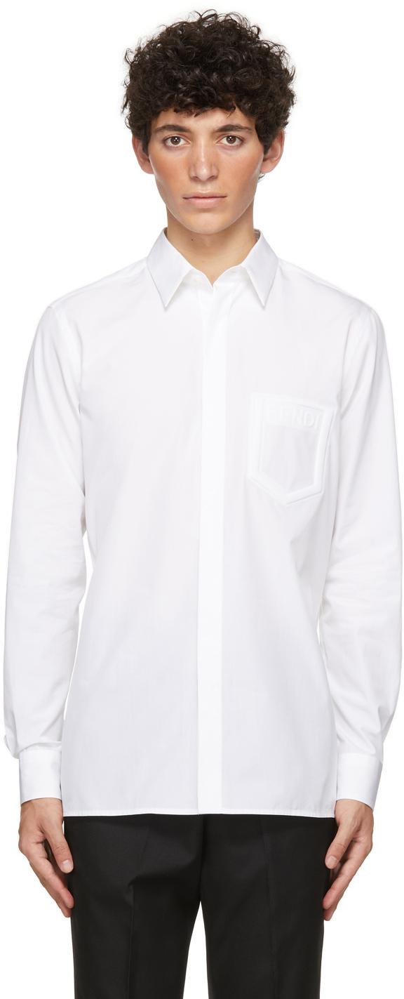 Fendi White Poplin Trompe L'Oeil Shirt