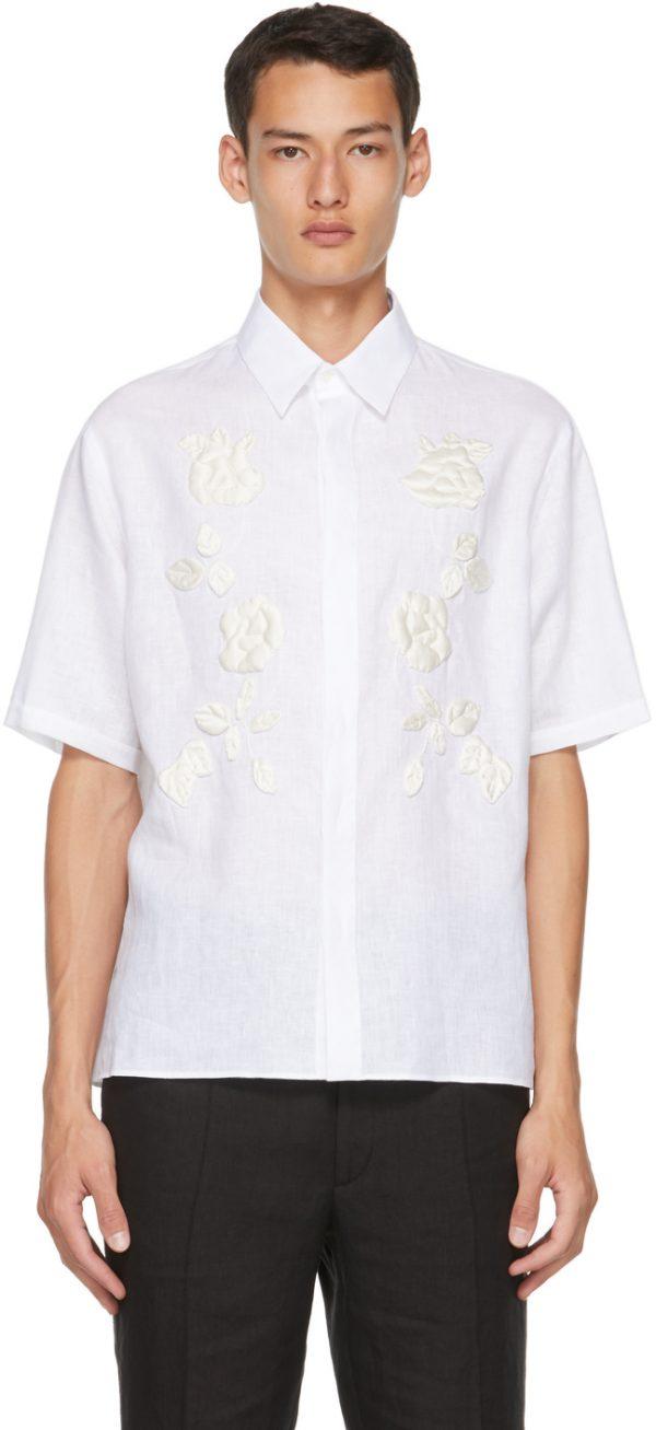 Fendi White Rose Branch Half Sleeve Shirt