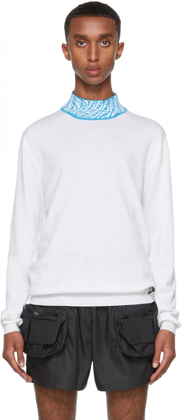 Fendi White & Blue FF Vertigo Collar Turtleneck
