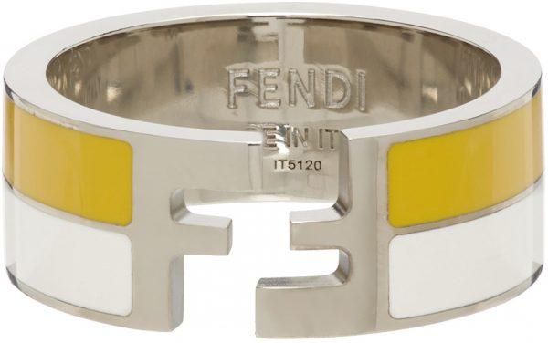 Fendi White & Yellow FF Ring