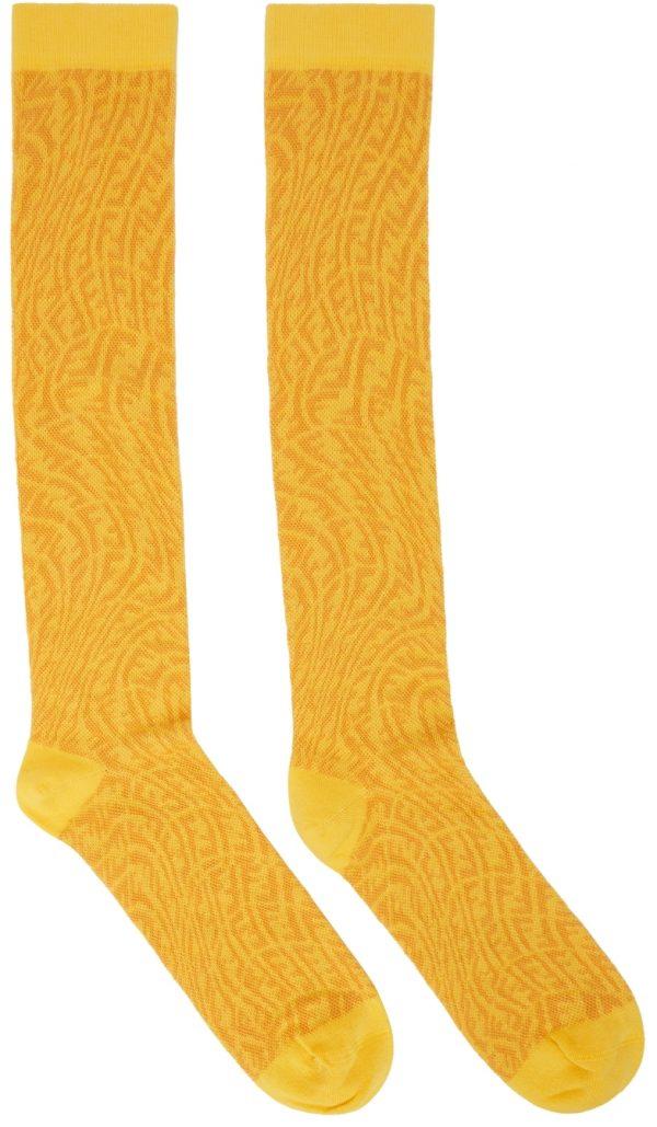 Fendi Yellow FF Vertigo Socks