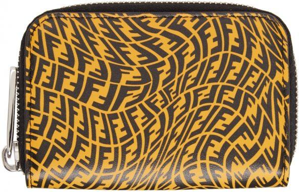 Fendi Yellow & Black FF Vertigo Zip-Around Wallet
