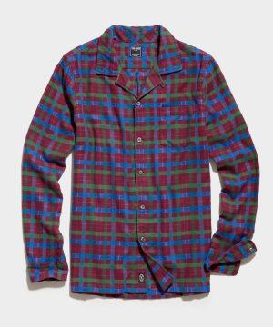 Flannel Camp Collar Shirt in Purple Blue Plaid