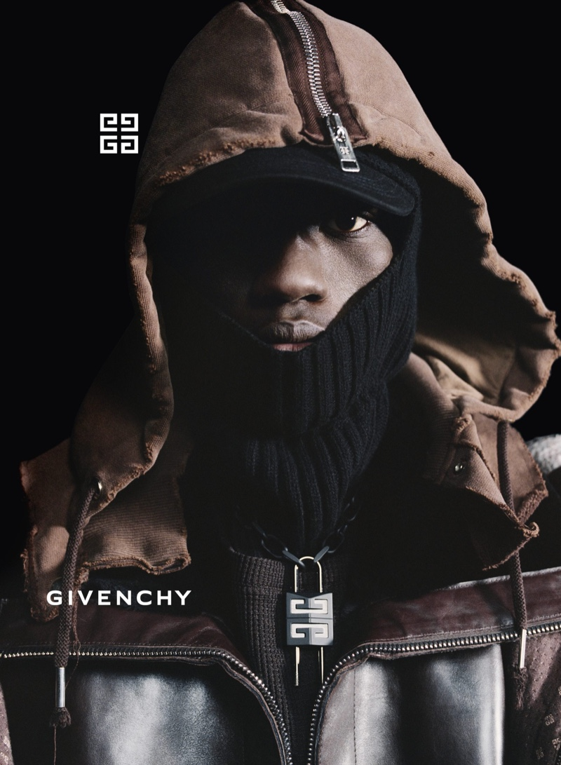 Moustapha Sy stars in Givenchy's fall-winter 2021 men's campaign.