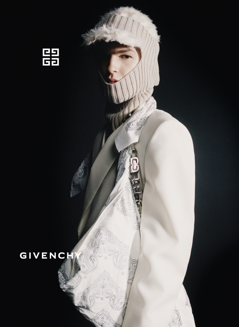 Andy Charpentier fronts Givenchy's fall-winter 2021 campaign.