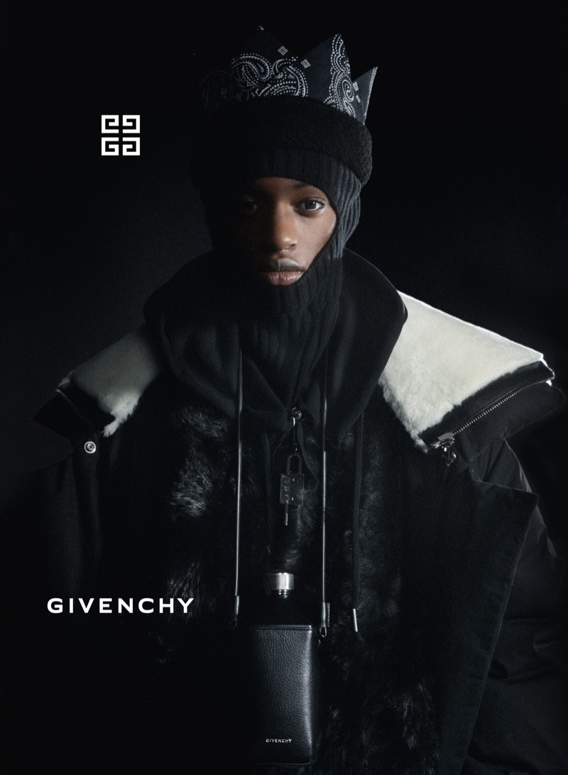 Craig Shimirimana appears in Givenchy's fall-winter 2021 men's campaign.