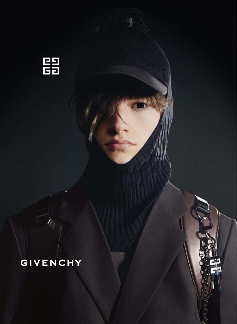 Fresh face Robin Genissel fronts Givenchy's fall-winter 2021 men's campaign.