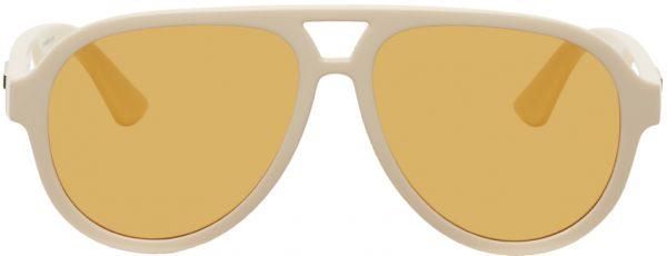 Gucci Beige Aviator Sunglasses