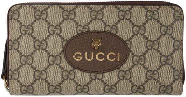 Gucci Beige GG Supreme Tiger Zip-Around Wallet
