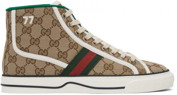 Gucci Beige 'Gucci Tennis 1977' High-Top Sneakers