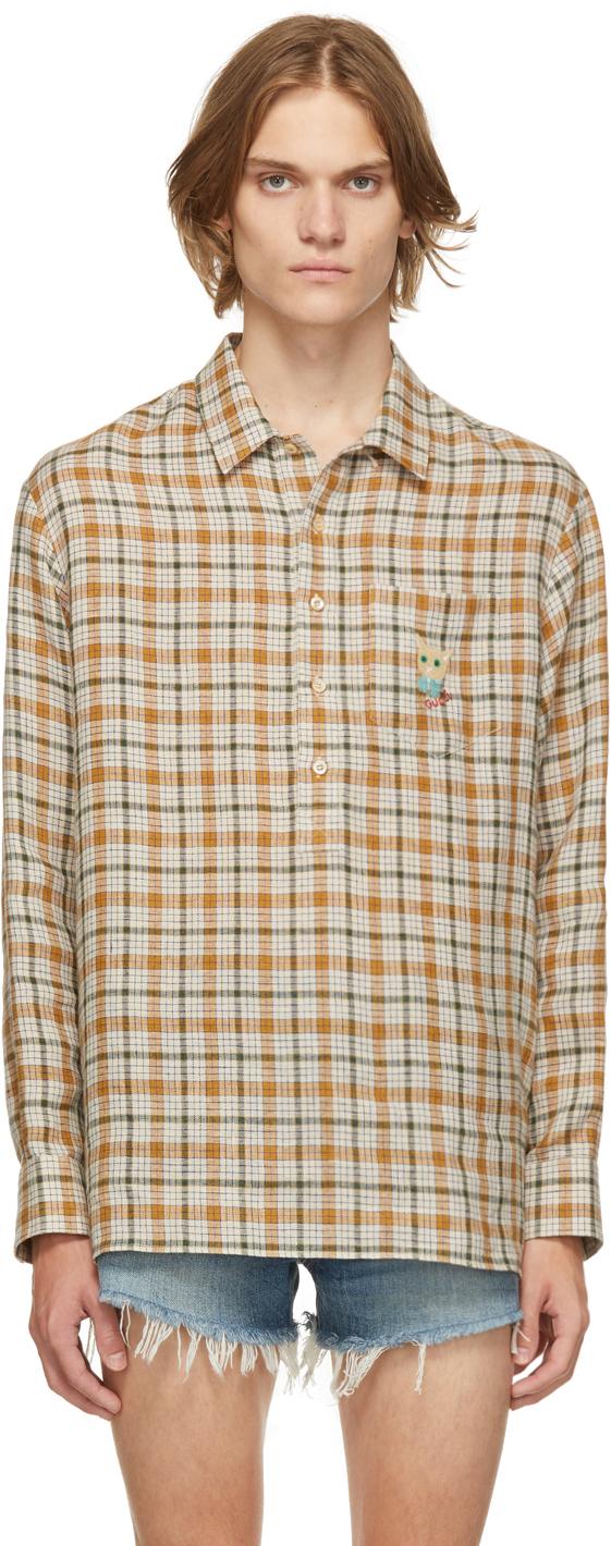 Gucci Beige Linen Embroidered Shirt