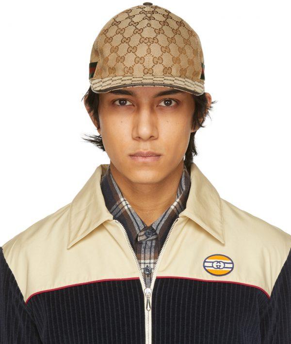 Gucci Beige & Brown Canvas Original GG Baseball Cap