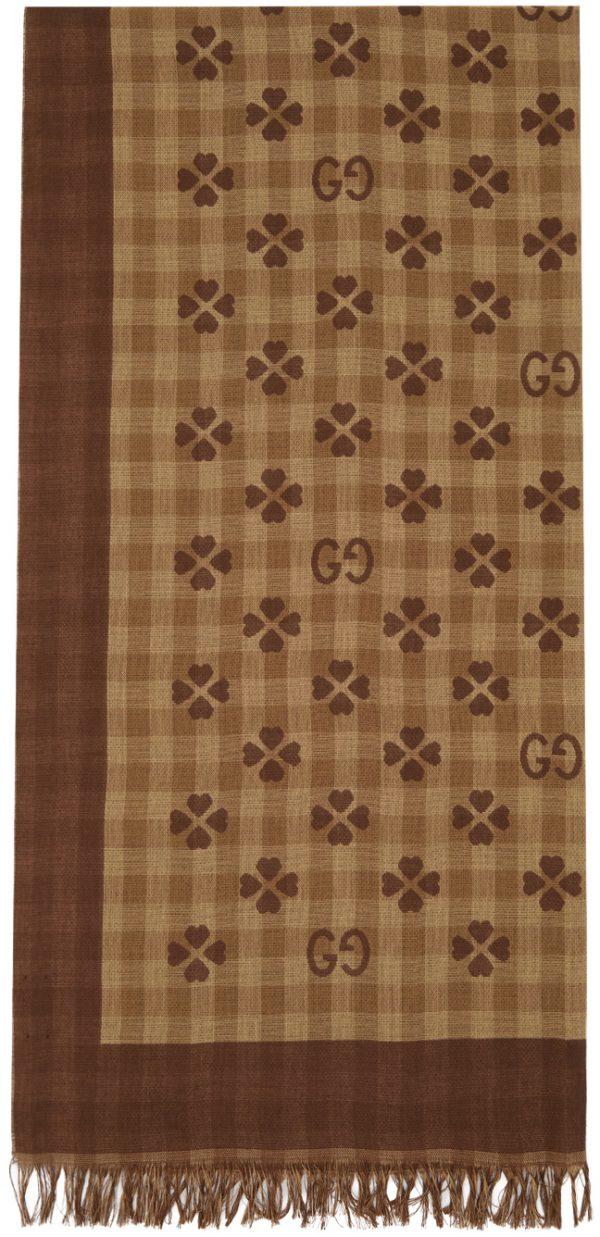 Gucci Beige & Brown Cotton Jacquard Scarf