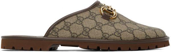 Gucci Beige & Brown GG Horsebit Slip-On Loafers