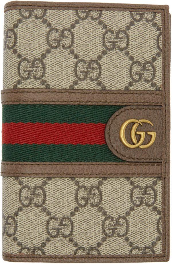Gucci Beige & Brown Ophidia Passport Holder