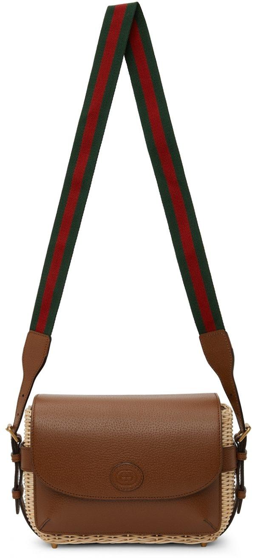 Gucci Beige & Brown Small Wicker Messenger Bag