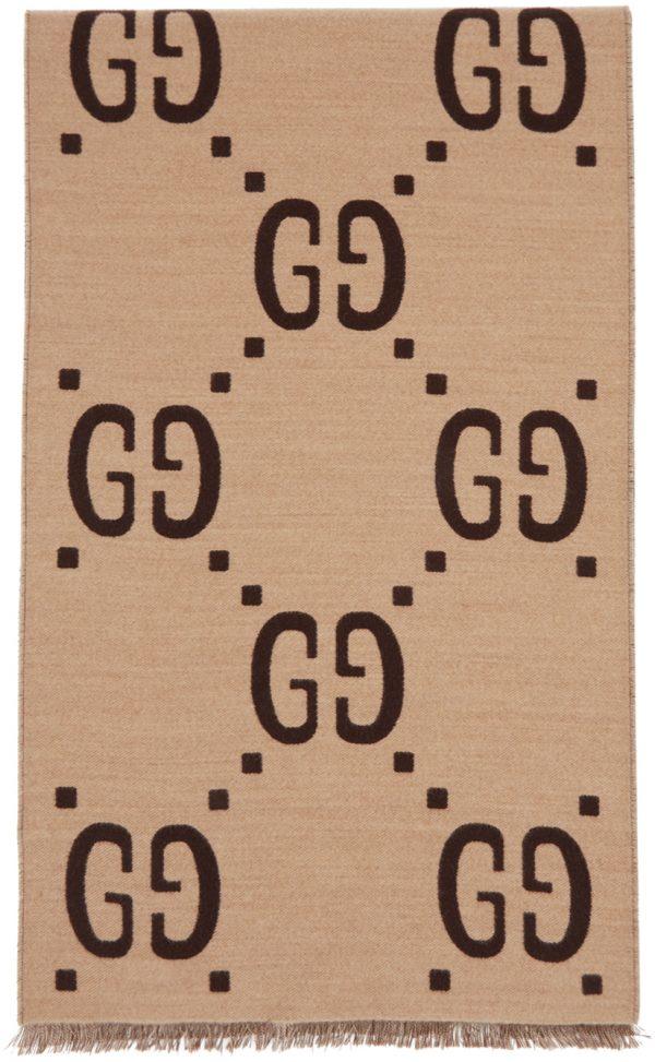 Gucci Beige & Brown Wool GG Scarf