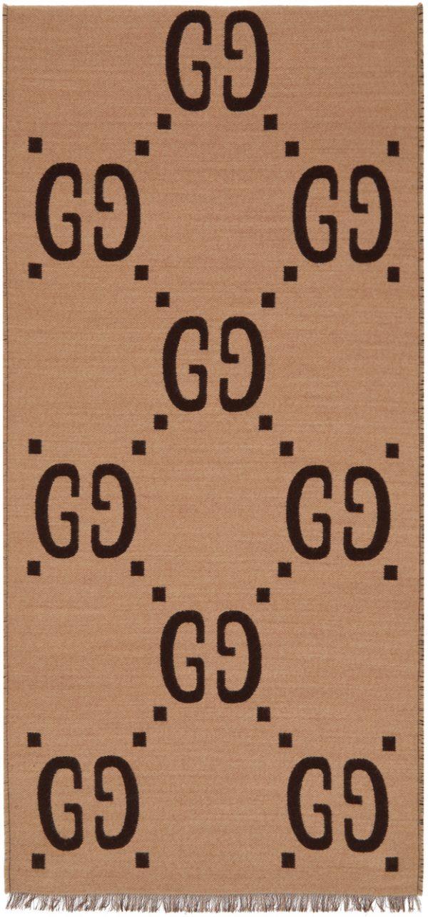 Gucci Beige & Brown Wool Jacquard GG Scarf