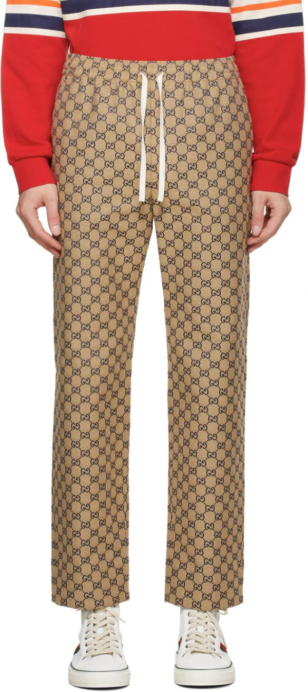 Gucci Beige & Navy Canvas GG Trousers
