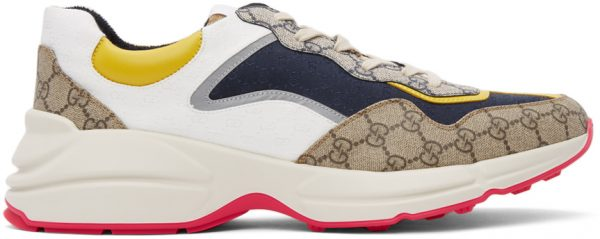 Gucci Beige & Navy GG Rhyton Sneakers
