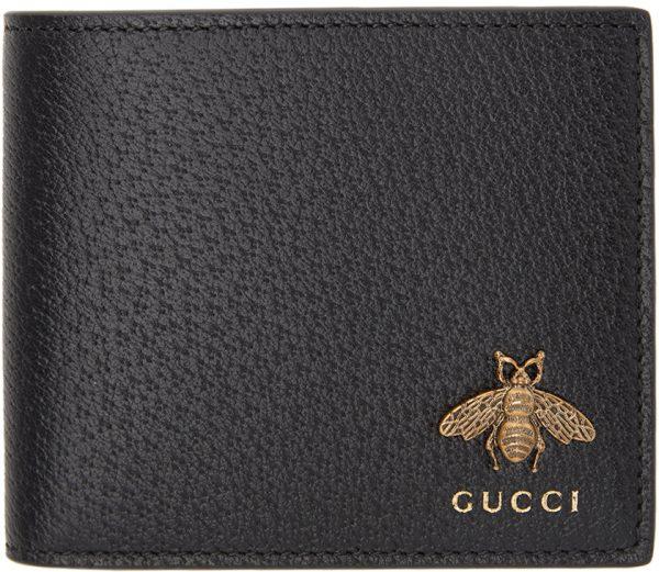 Gucci Black Bee Bifold Wallet