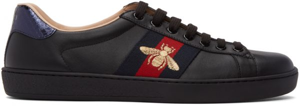 Gucci Black Embroidered Ace Sneakers