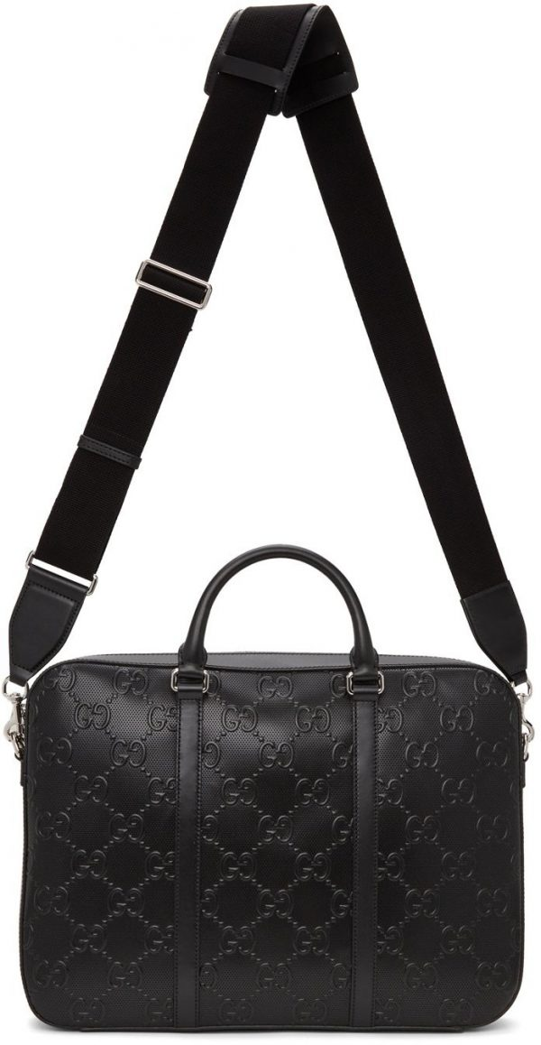 Gucci Black GG Embossed Briefcase