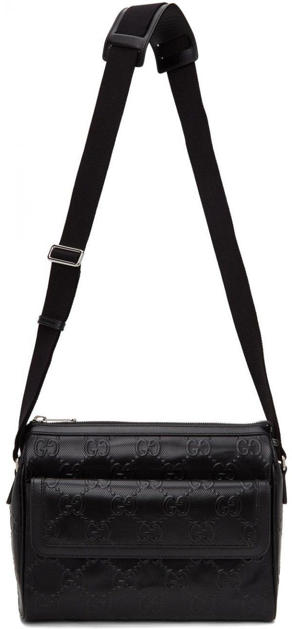 Gucci Black GG Embossed Messenger Bag