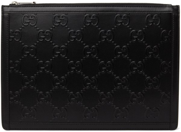Gucci Black GG Embossed Pouch