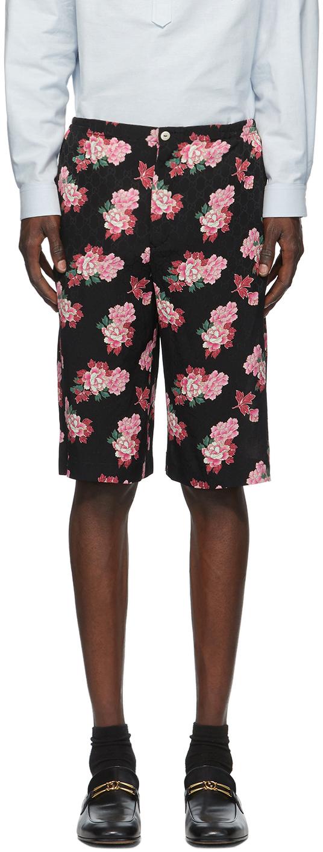 Gucci Black GG Peony Print Shorts