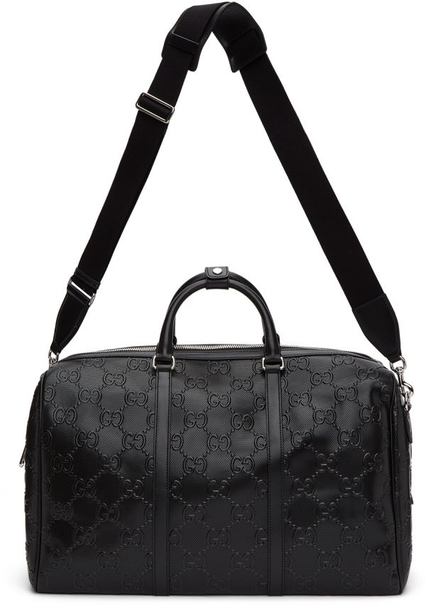 Gucci Black 'Gucci Signature' Weekender Duffle Bag