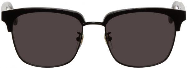 Gucci Black Half-Rim Square Sunglasses