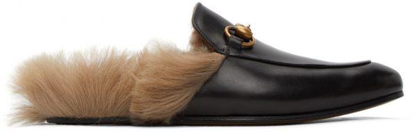 Gucci Black Horsebit Princetown Slip-On Loafers