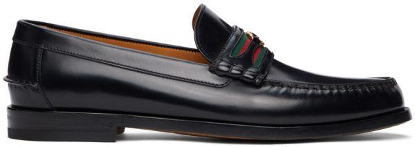 Gucci Black Interlocking G Loafers