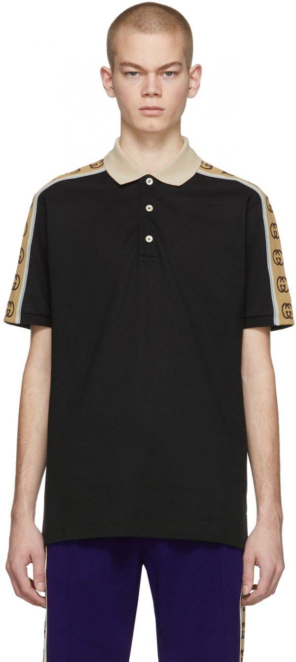 Gucci Black Interlocking G Polo