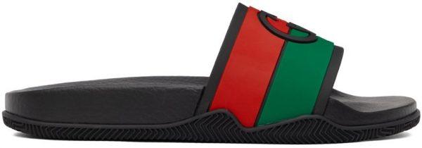 Gucci Black Interlocking G Slip-On Sandals