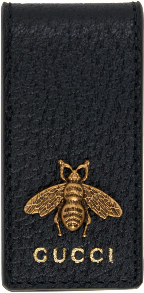 Gucci Black Leather Bee Money Clip