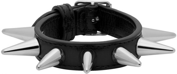 Gucci Black Leather Stud Bracelet