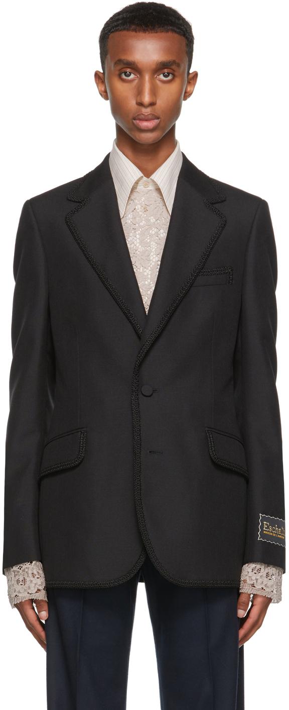 Gucci Black Ouverture Mohair Tailored Blazer