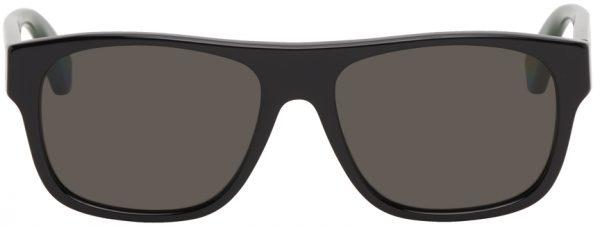 Gucci Black Rectangular Signature Stripe Sunglasses