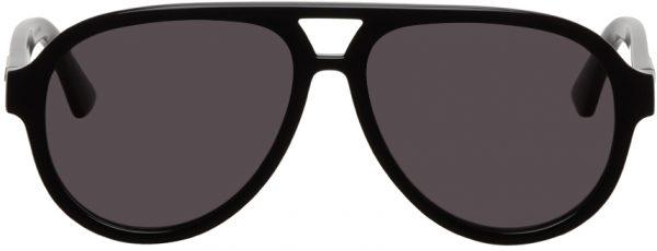 Gucci Black Round Aviator Sunglasses