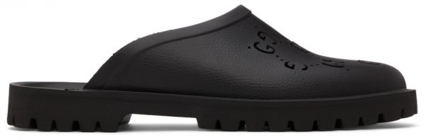 Gucci Black Rubber GG Slip-On Loafers