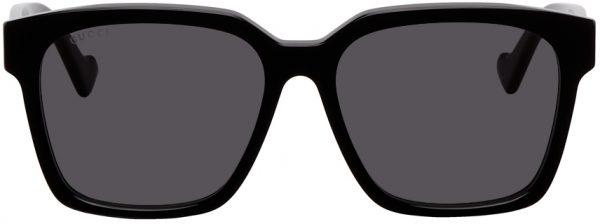 Gucci Black Shiny Square Sunglasses