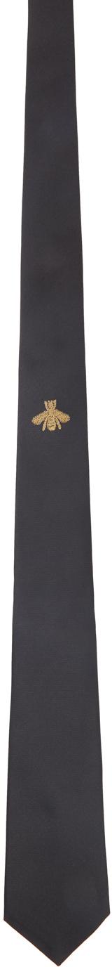 Gucci Black Silk Bee Tie