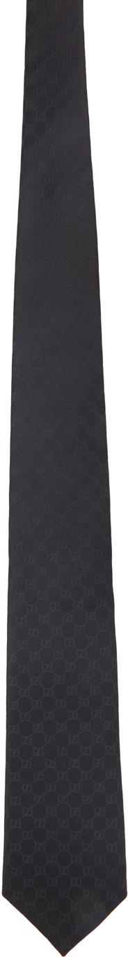 Gucci Black Silk GG Tie